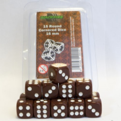 15 Dice (D6) Brown 16 mm Round Cornered