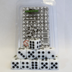 15 White Dice (D6) 16 mm Round Cornered
