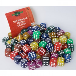 100 Marble D6 dice in 10 colors 16mm