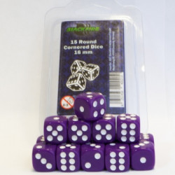 Dice - 16mm D6 Dice Set - Purple (15 Dice)