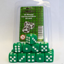 Dice - 16mm D6 Dice Set - Green (15 Dice)