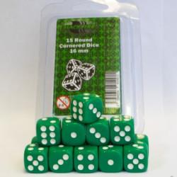 Dice - 16mm D6 Dice Set - Green (15 Dice)