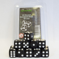 Dice - 16mm D6 Dice Set - Black (15 Dice)
