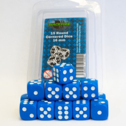 Dice - 16mm D6 Dice Set - Blue (15 Dice)