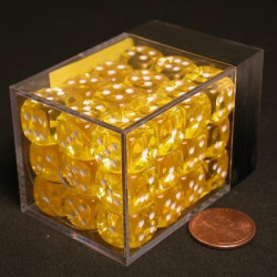 Translucent Yellow Dice D6 12mm 36 pcs