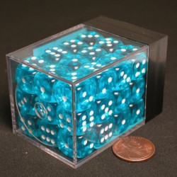 Translucent Light Blue Dice D6 12mm 36 pcs