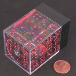 Translucent Smoke/Red pips Dice D6 12mm 36 pcs