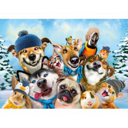 Winter Pet Selfie houten puzzel (40)