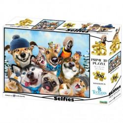 3D Image Puzzle - Winter Pets Selfie (300)