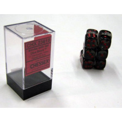 Translucent Smoke/red D6 16mm Dobbelsteen Set (12 pieces)